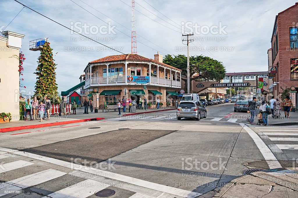 Monterey Cannery Row getting ready for holiday stock photo