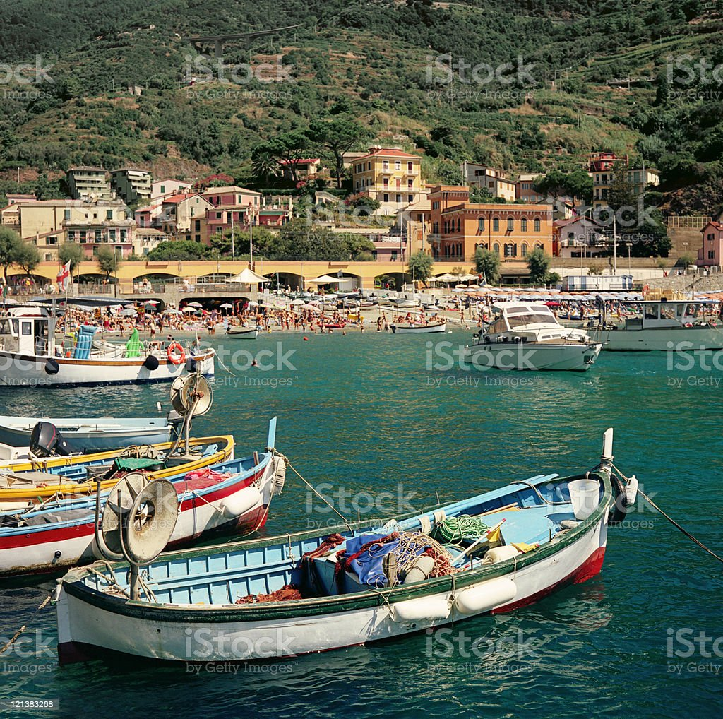 Monterosso - iconic summer landmark with boats and houses stock photo
