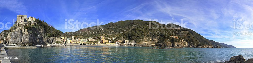 Monterosso Panorama, harbor and sea bay. Cinque terre, Liguria Italy royalty-free stock photo