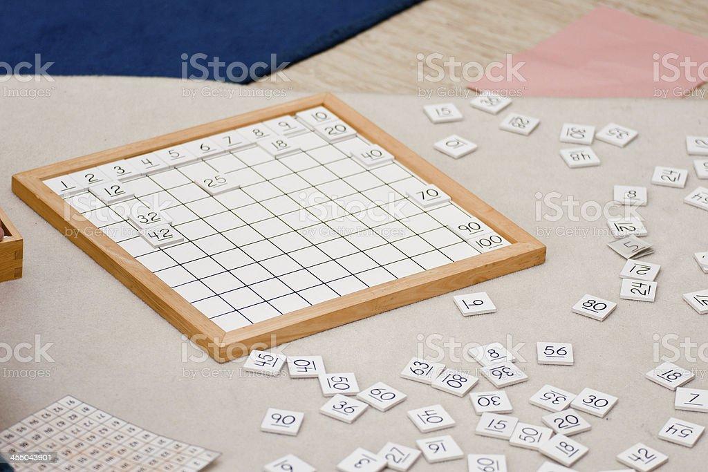 Montessori Hundred Board stock photo
