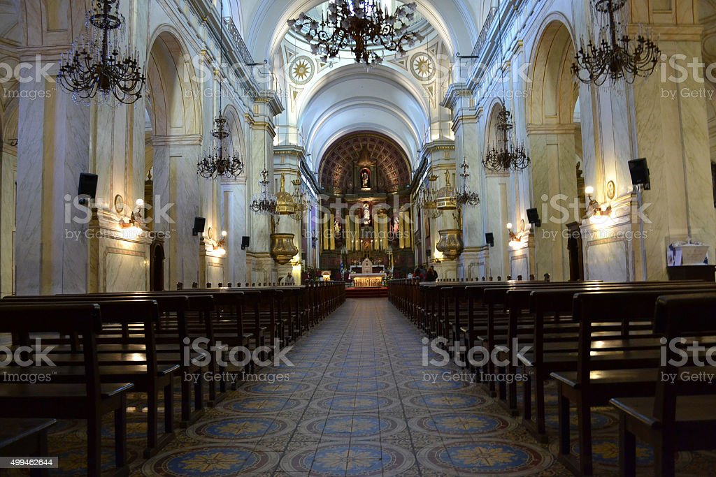 Montevideo cathedral stock photo