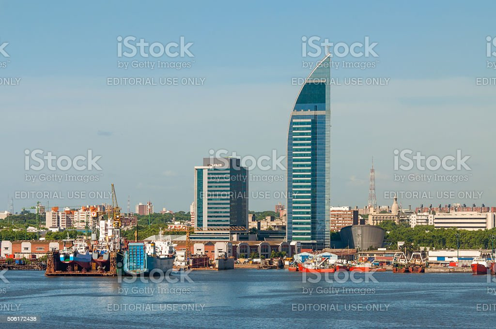 Montevideo cityscape from port district stock photo