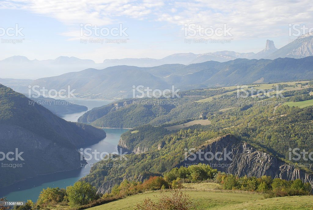 Monteynard Lake and the Needle-Mountain stock photo