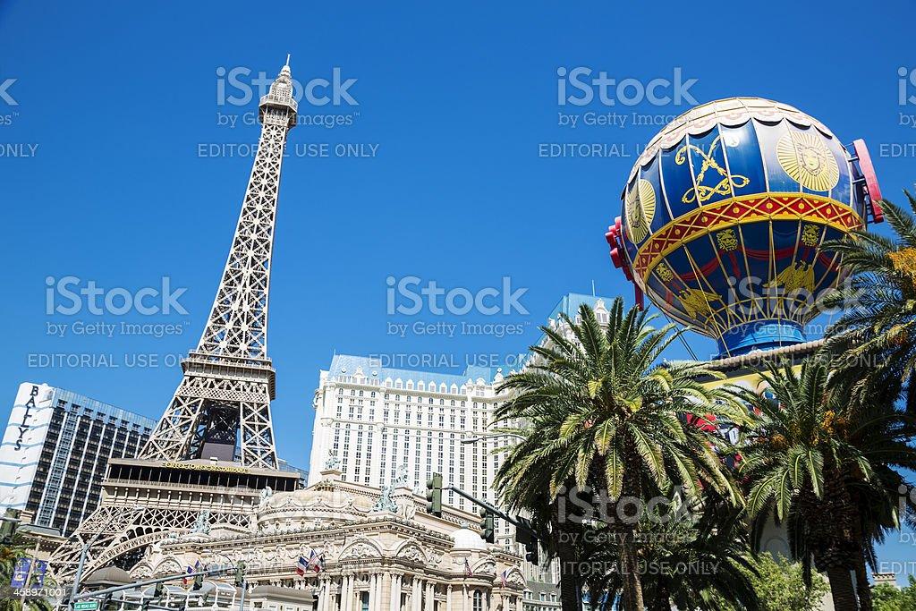 Montgolfier Balloon and Eiffel tower replicas at Paris, Las Vegas stock photo