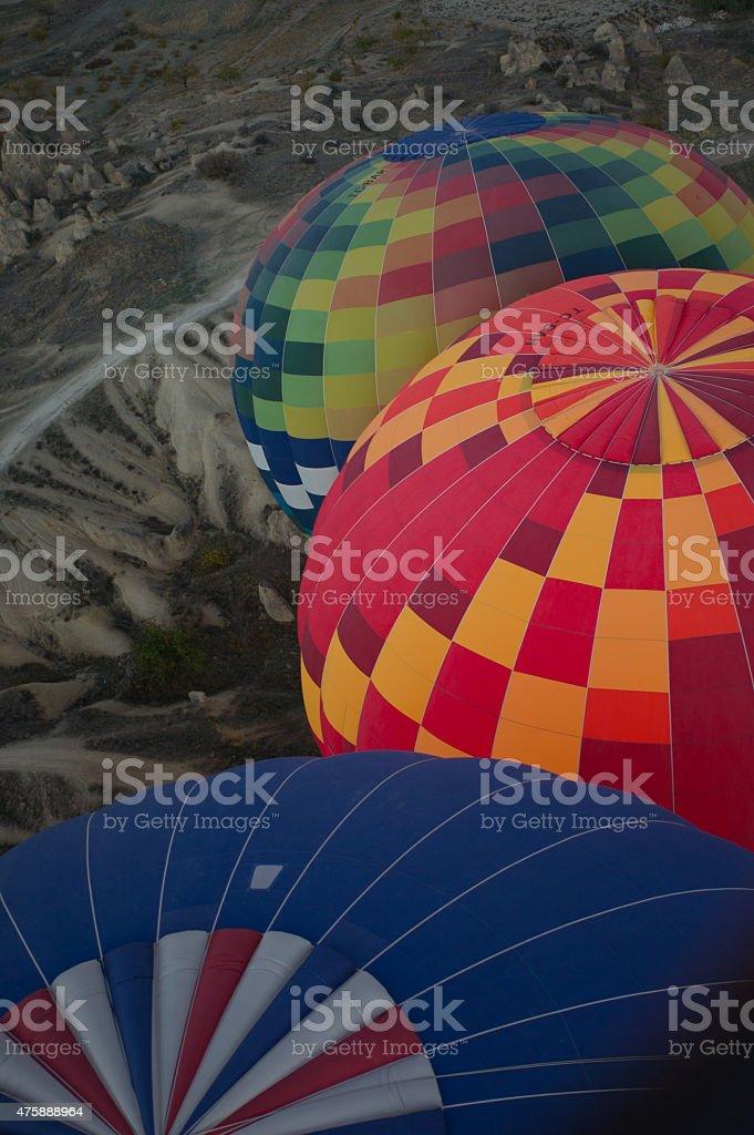Montgolfi?res au dessus de la Cappadoce stock photo
