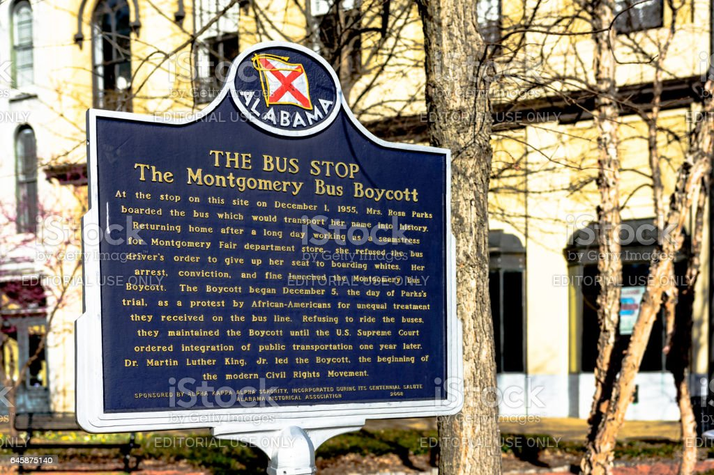 Montgomery Bus Boycott marker stock photo