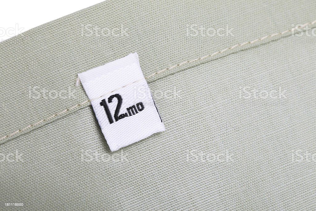 12 Month Clothing Label stock photo