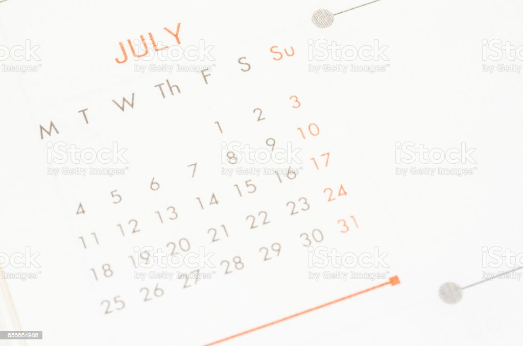 Month Of July stock photo