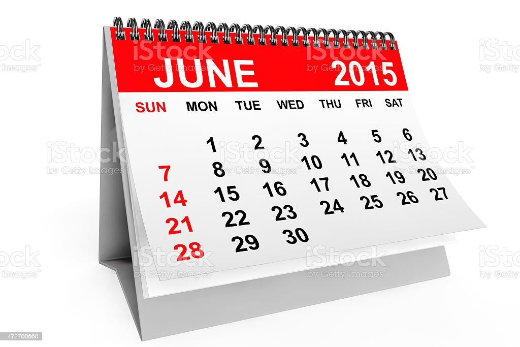 Month of June in a calendar in red and white stock photo