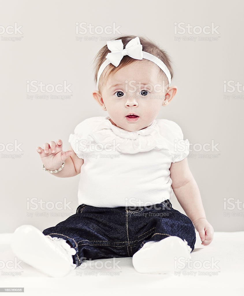 5 Month Old Baby-sitting stock photo