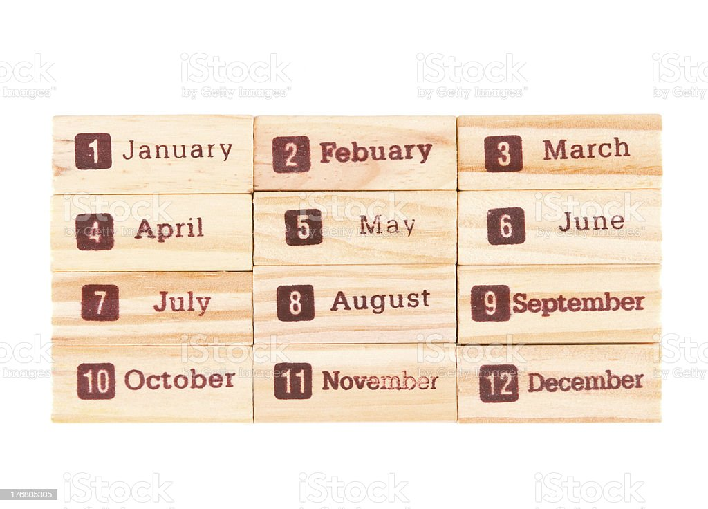 Month words print on wood texture royalty-free stock photo