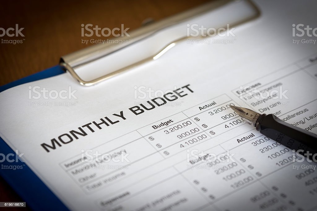 Monthly Budget Plan for Expenses and Money stock photo