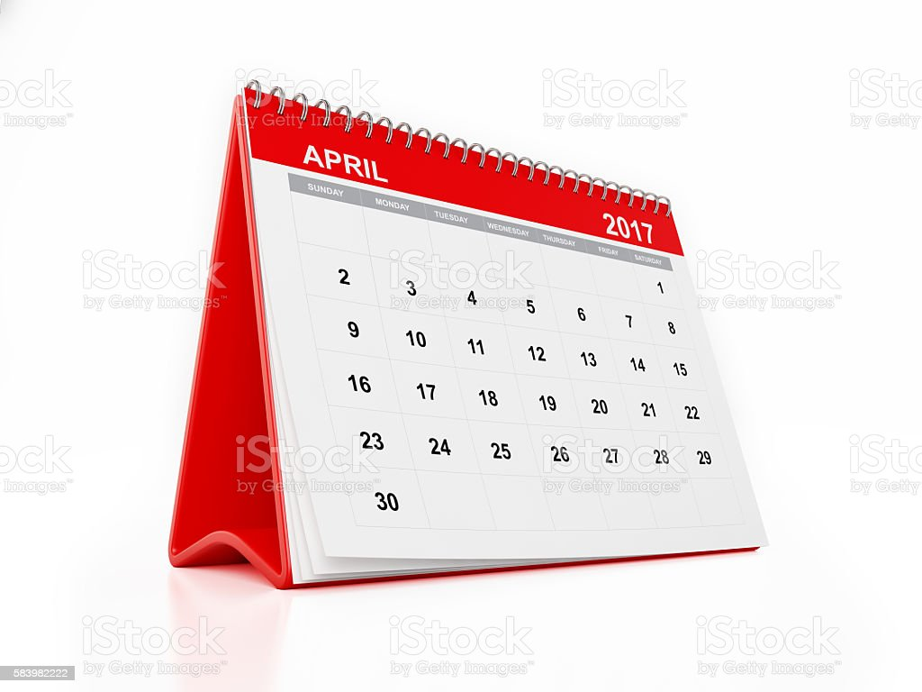 2017 Monthly Desktop Calendar: April stock photo