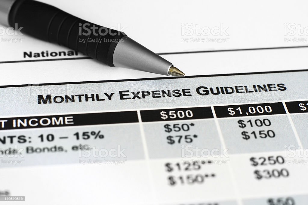 Monthly expense guidelines stock photo