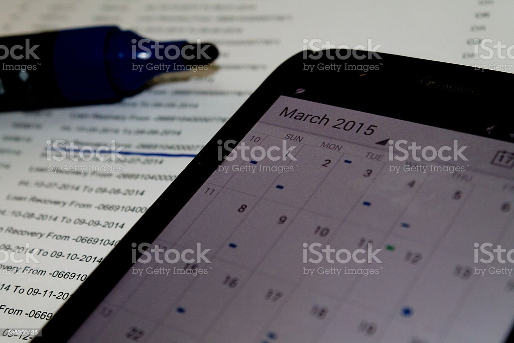Monthly Loan Schedule stock photo