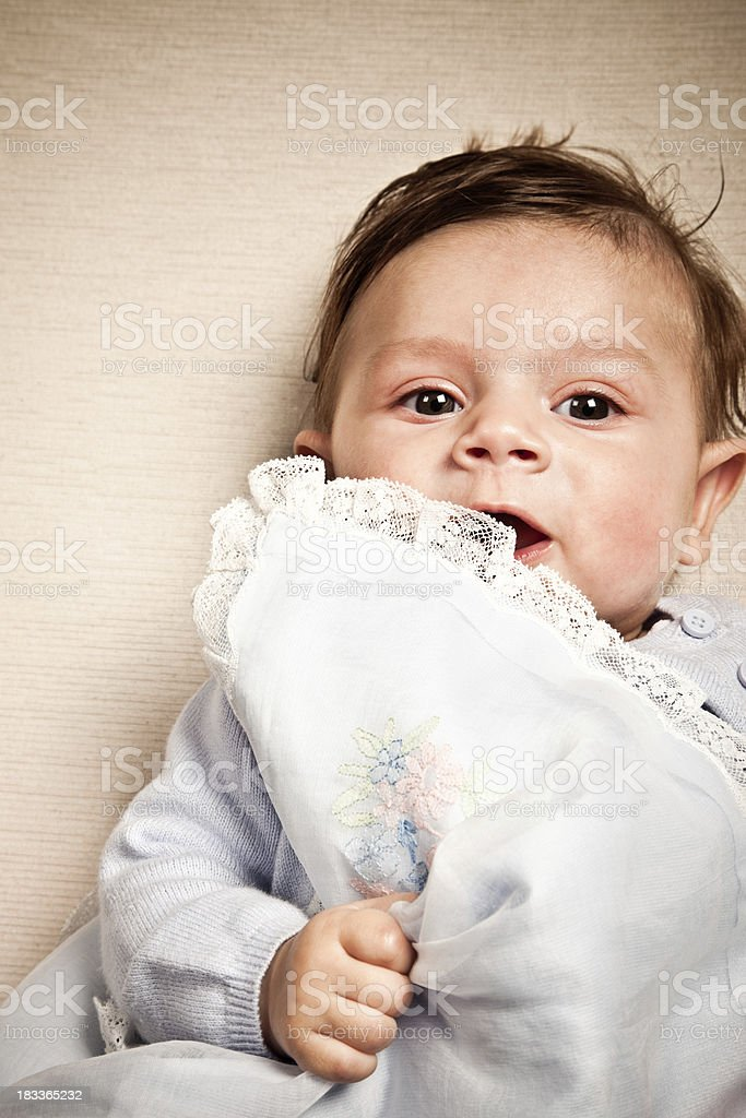 4 Months Baby Boy Holding His Blanket stock photo