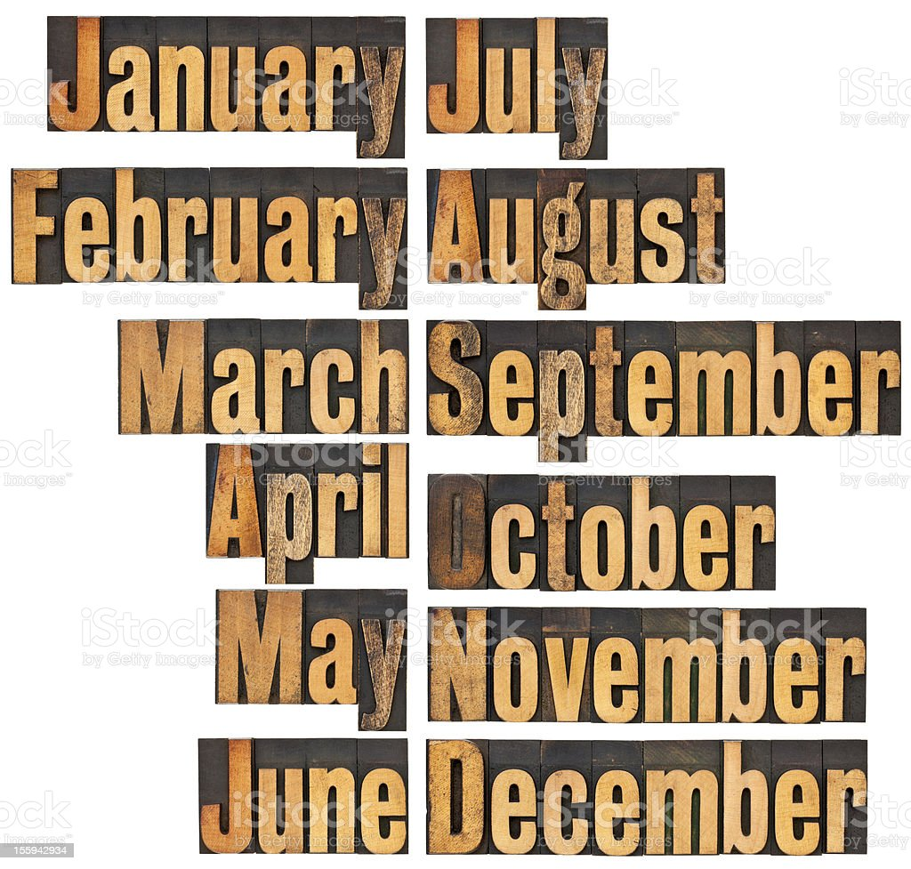 months in letterpress wood type royalty-free stock photo