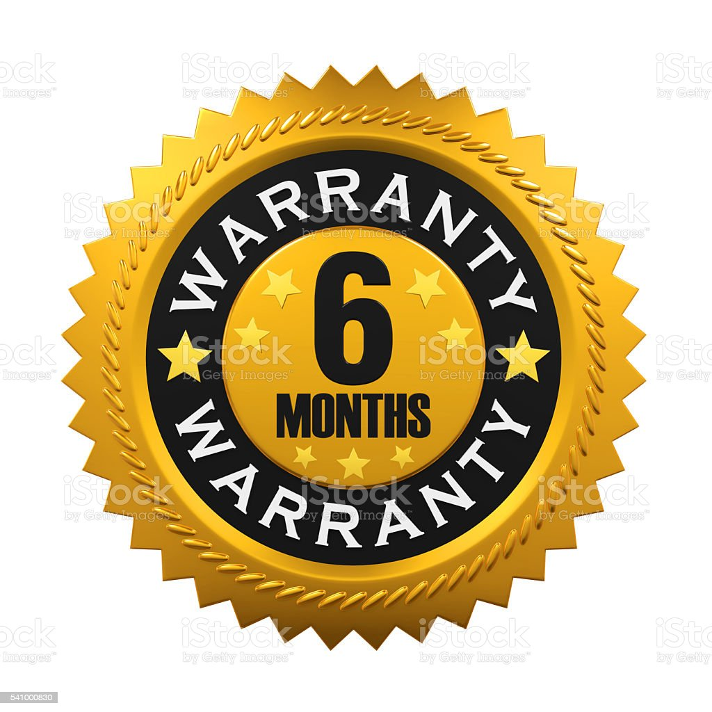 6 Months Warranty Sign stock photo