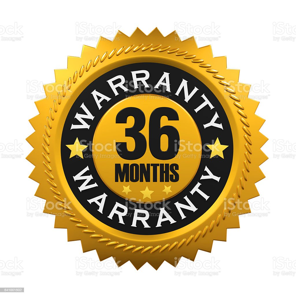 36 Months Warranty Sign stock photo