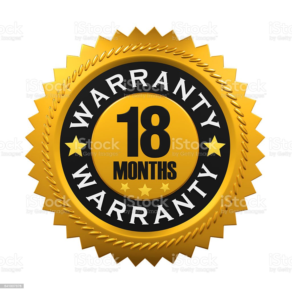 18 Months Warranty Sign stock photo