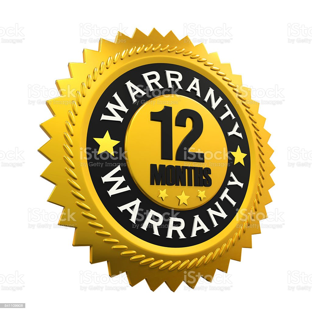 12 Months Warranty Sign stock photo