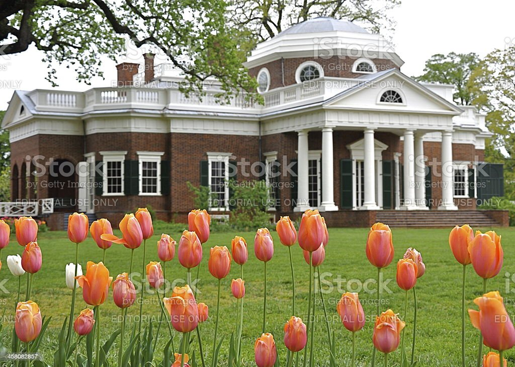 Monticello with tulips in foreground stock photo