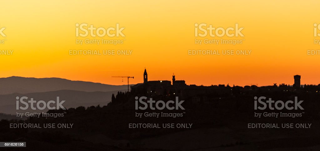 Montichiello - Tuscany/Italy: October 29, 2017: Sunset in Monticchiello, Val d`Orcia Tuscany Italy stock photo