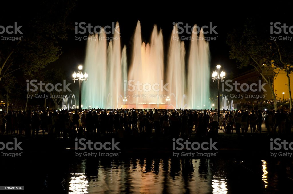 Montju?c fountain at night royalty-free stock photo