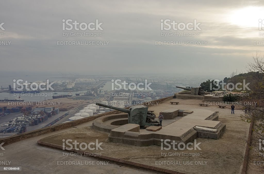 Montjuic Castle fortress on Jewish Mountain in Barcelona stock photo