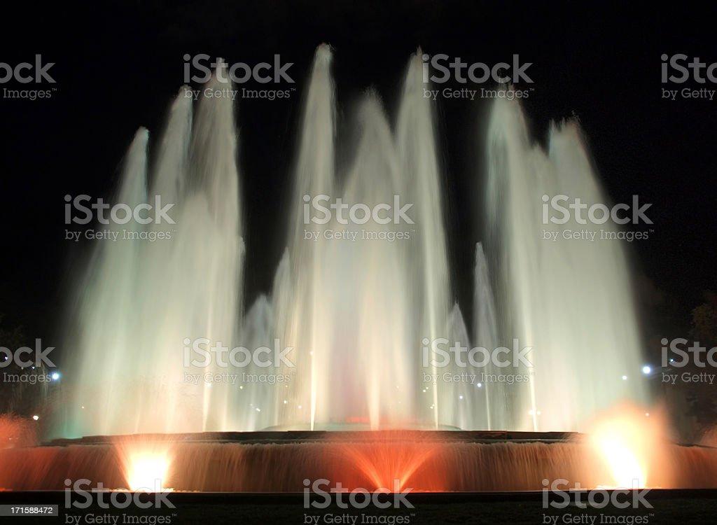 Montjuic fountain at night royalty-free stock photo