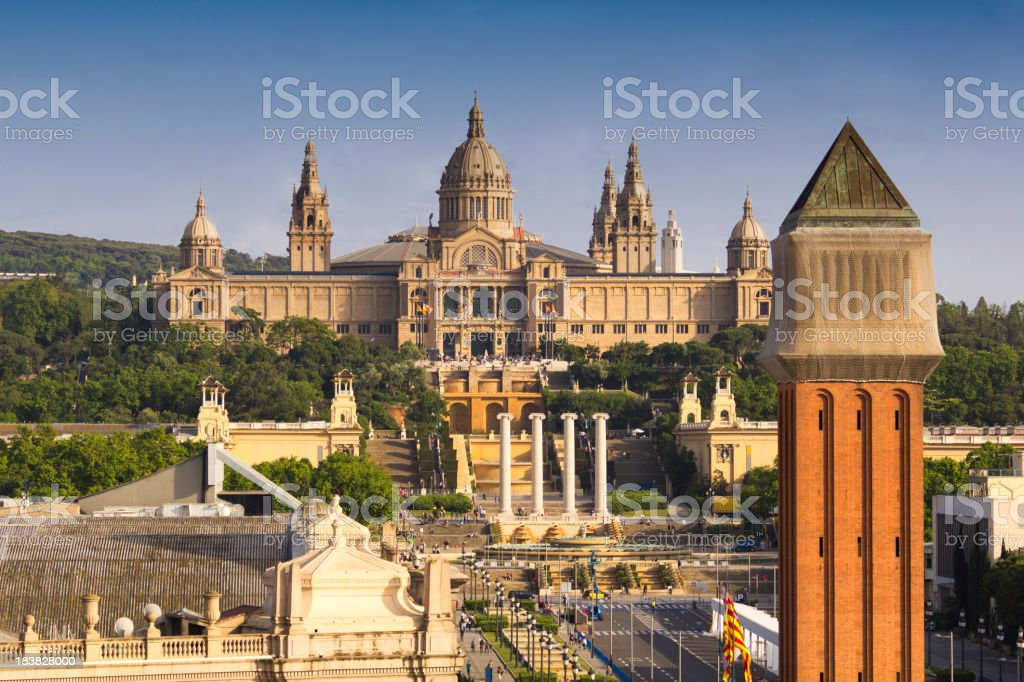 Montjuic mountain and palace in Barcelona, Spain stock photo