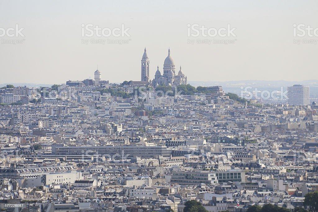 Montmartre and Sacré-Cœur over Rooftop cityscape Paris France royalty-free stock photo