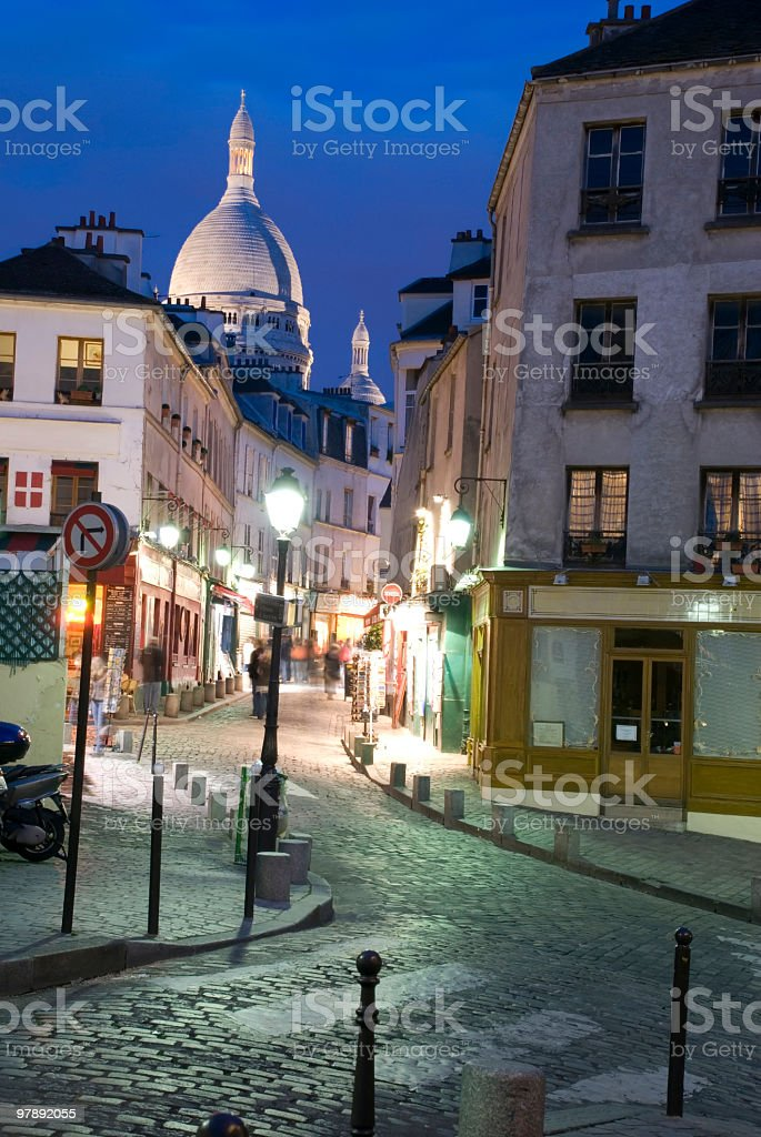 Montmartre by night stock photo