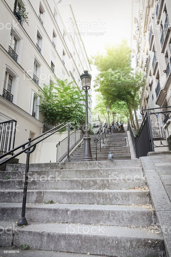 Montmartre staircase in Paris stock photo