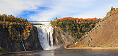 Montmorency Falls and Bridge in autumn, Canada
