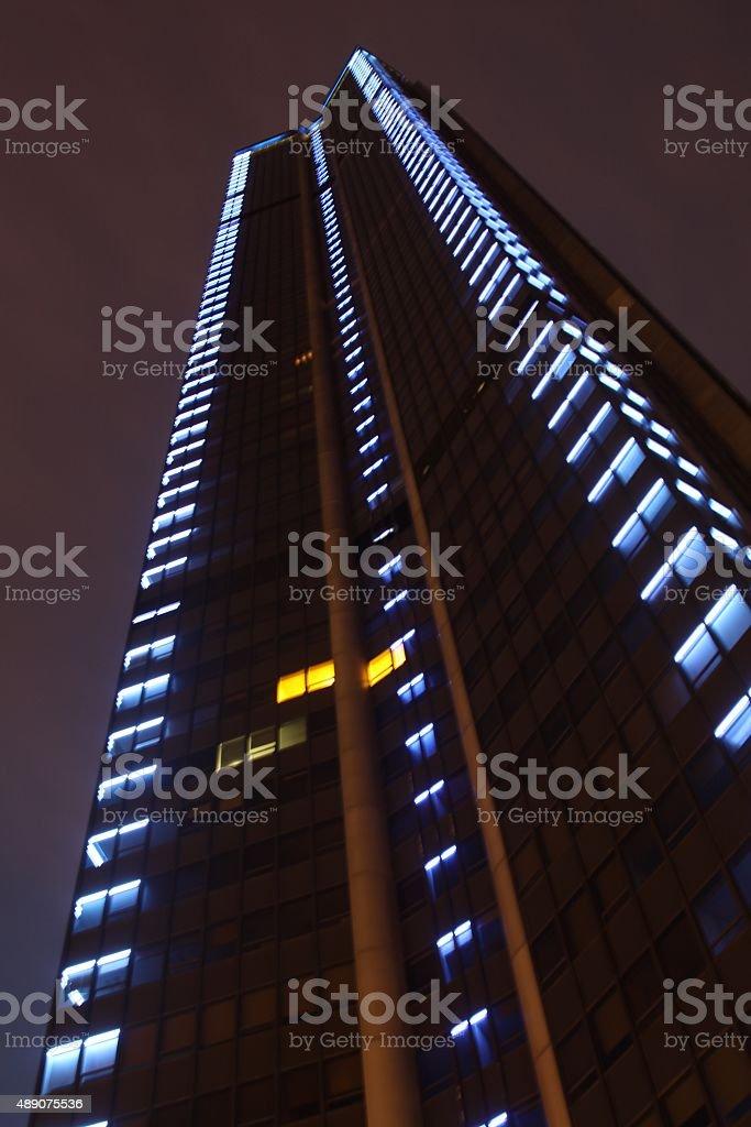 Montparnasse Tower In Paris At Night stock photo