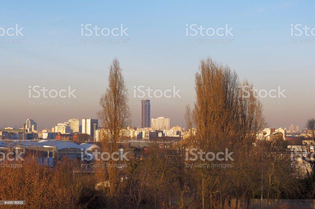 Montparnasse tower in the smog - Paris France stock photo