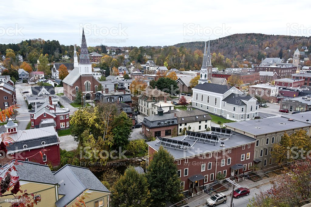 Montpelier cityscape in autumn stock photo