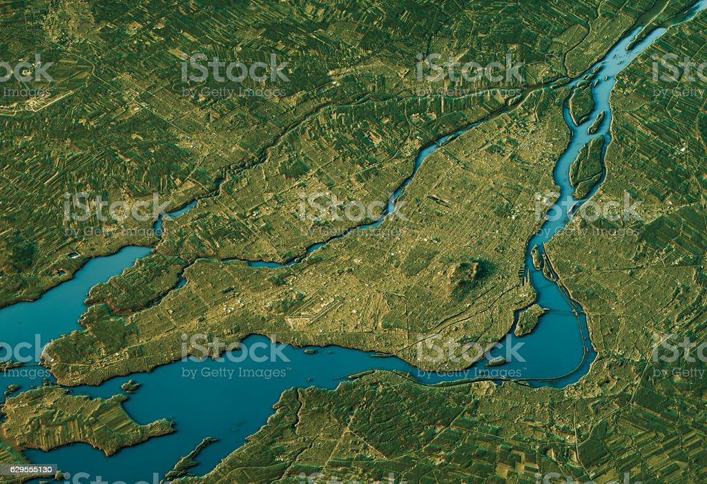 Montreal 3D Landscape View South-North Natural Color stock photo