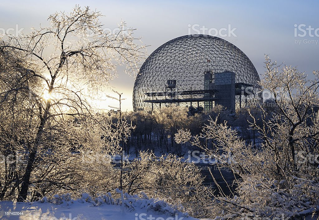 Montreal biosphere during the winter stock photo