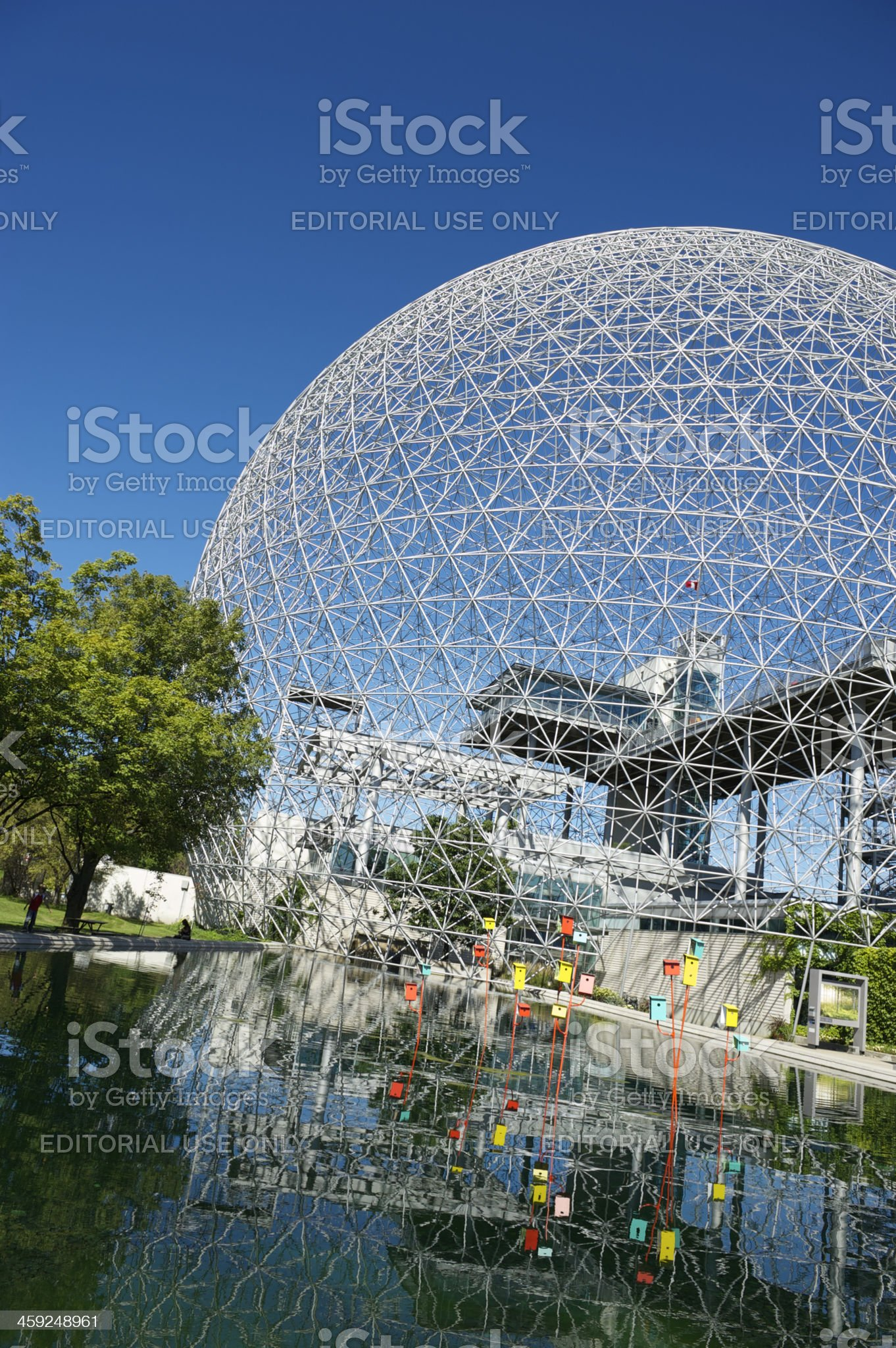 Montreal Biosphere Geodesic Dome Bright Blue Summer Sky royalty-free stock photo