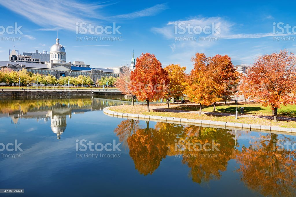 Montreal Bonsecours Market Autumn Reflections stock photo