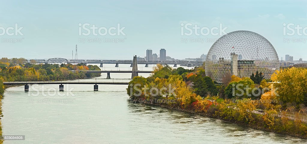 Montreal bridges over St Laurence river stock photo