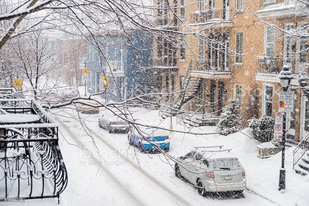 Montreal, CA, 7th March 2016. Berri Street during snow storm stock photo