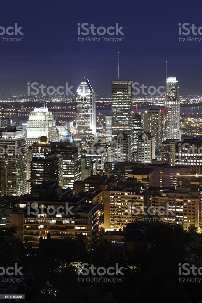 Montreal city aerial view at night royalty-free stock photo