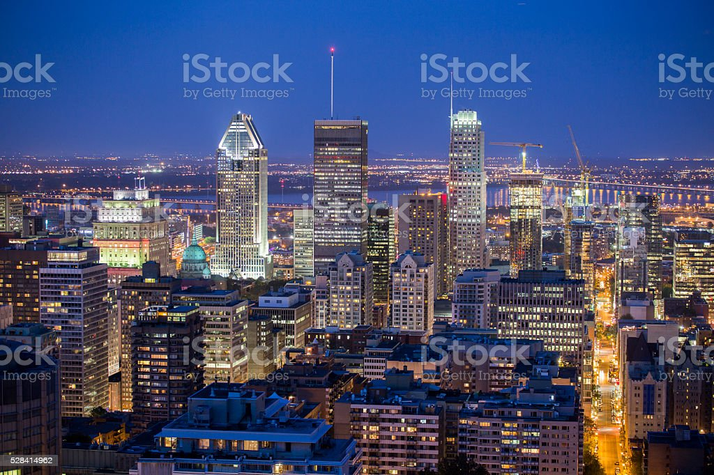 Montreal city blue hour stock photo