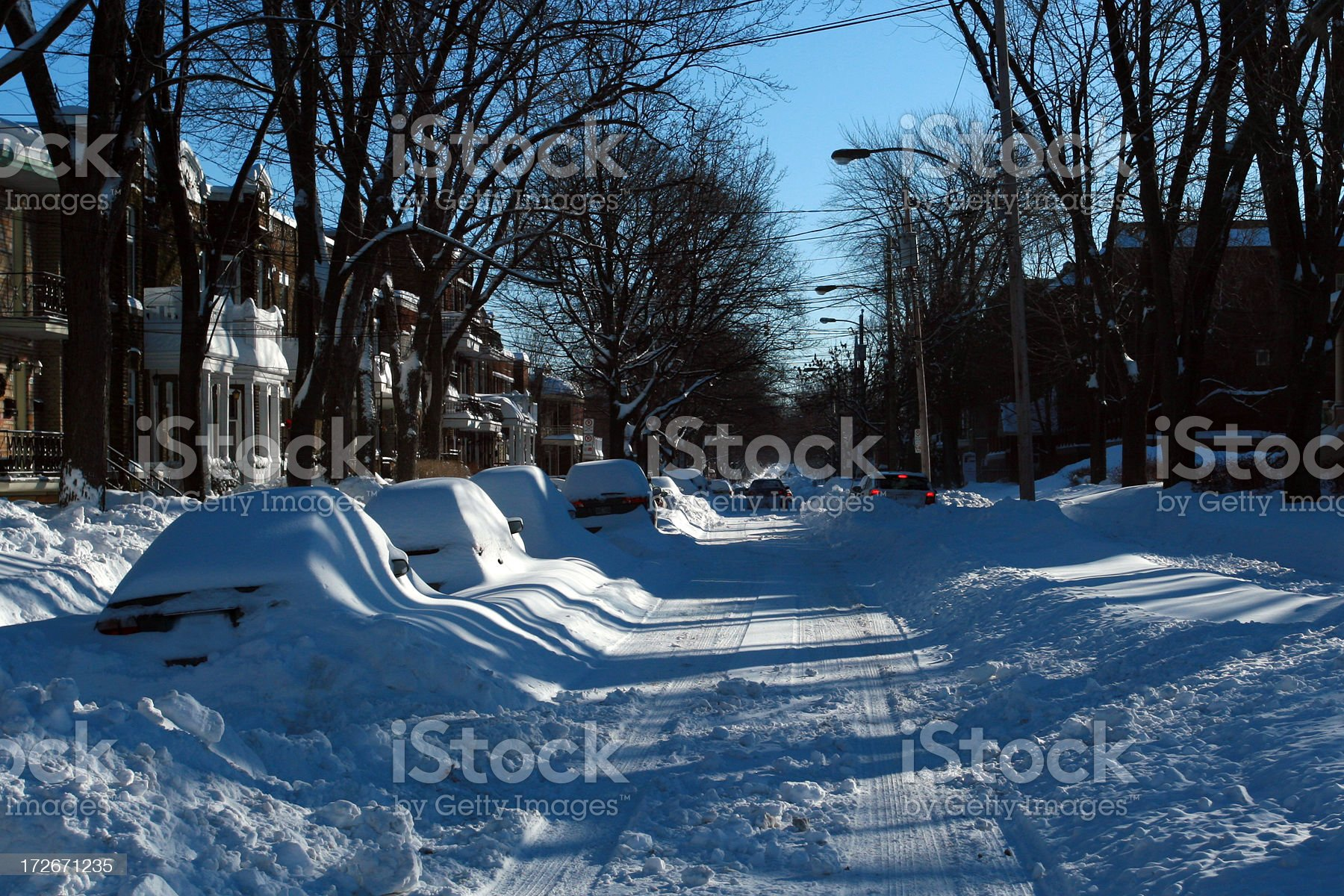 Montreal City Street After Big Snowstorm in Winter royalty-free stock photo