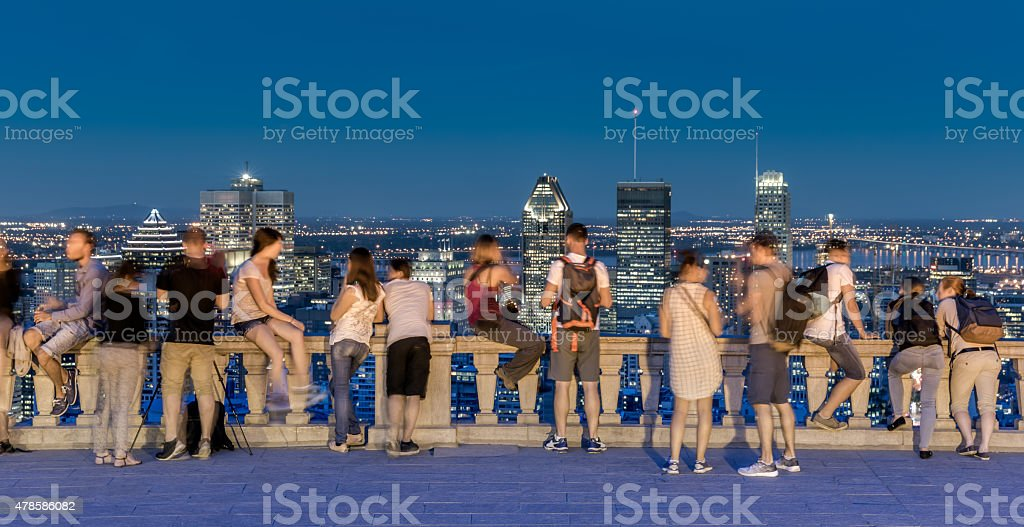 Montreal Cityscape at Sunset from Mont Royal Belvedere stock photo