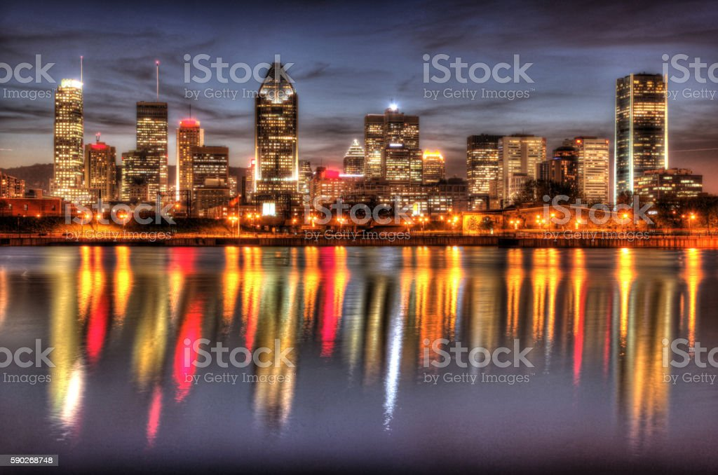 Montreal Cityscape Reflection at Sunset stock photo