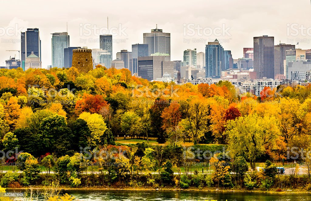 Montreal downtown in the autumn stock photo